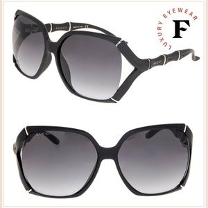 GUCCI Bamboo GG0505S Shiny Black Grey Gradient
